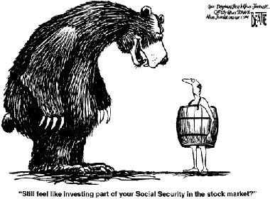 Mong manh trước xu hướng đi xuống (Bearish Market: thị trường giảm), nhà đầu tư tại phố Wall đầu tư vào trái phiếu để để tránh rủi ro. Ảnh: Hòang Hà.