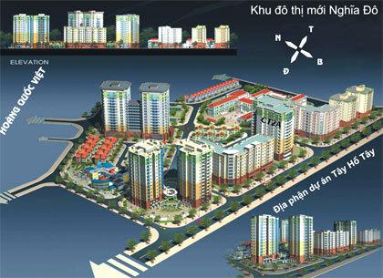 Khu CT2A trong khu đô thị mới Nghĩa Đô.