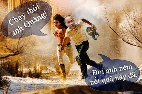 Nguyễn Từ Quảng trong một biếm họa cùng ngôi sao Megan Fox. Ảnh: ST