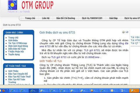 Thông tin quảng cáo được đăng tải trên website của Công ty OTM. Ảnh chụp màn hinh