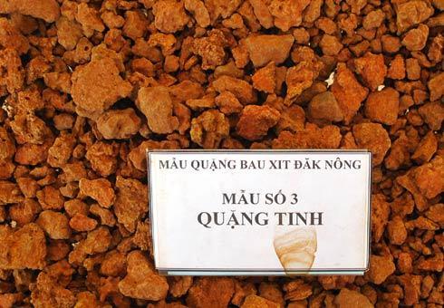 Mẫu quặng tinh tại mỏ bô xít Đăk Nông.