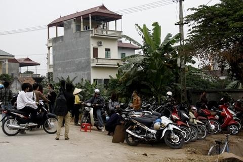 Dịch vụ trông giữ xe cho khách chụp ảnh tại cánh đồng hoa cải ở An Lạc, Trâu Quỳ, Gia Lâm (Hà Nội) với giá 5.000 đến 10.000 đồng cho một lượt xe máy. Ảnh: Tuệ Minh