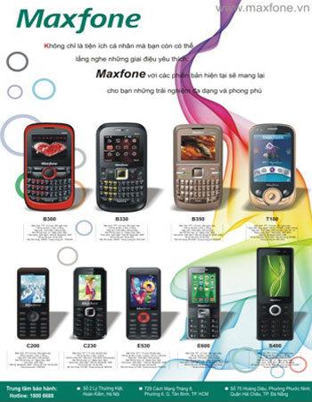 Một số mẫu điện thoại Maxfone ra mắt năm 2011.