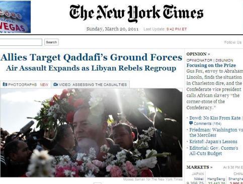 Giao diện trang trực tuyến của báo New York Times. Ảnh chụp màn hình