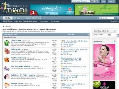 Một góc giao diện của mạng mua bán hiệu quả TrieuDo.com.