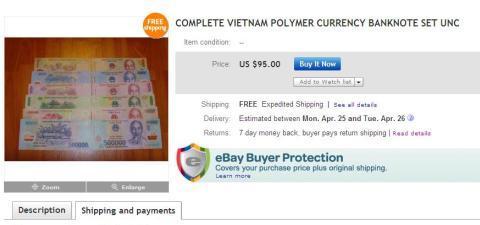 Tiền Việt được rao bán trên eBay