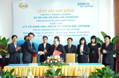 Lễ ký kết hợp đồng giữa cty Him Lam với Posco E&C.