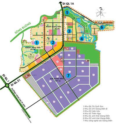 Sơ đồ toàn cảnh quy hoạch khu đô thị công nghệ cao Giang Điền.