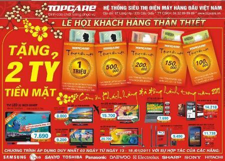 2 tỷ đồng tiền mặt sẽ được tặng trực tiếp cho khách hàng mua hàng tại Topcare.