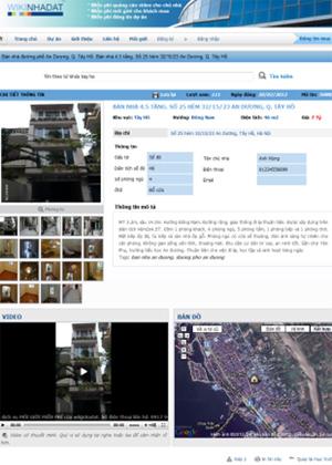 Giao diện trang chi tiết website kiwinhadat.