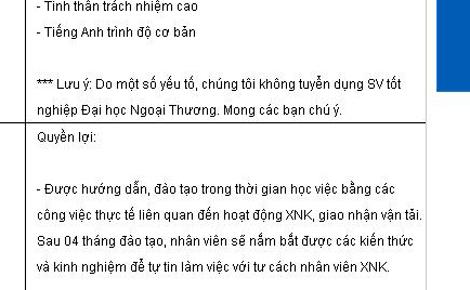 Công ty từ chối ứng viên tốt nghiệp trường Ngoại Thương vì cho rằng sinh viên trường này