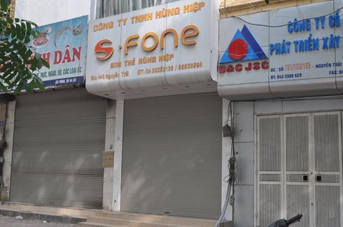 Số nhà 149 Nguyễn Trãi, một đại lý cũ của S-Fone do Công ty TNHH Hùng Hiệp đứng tên, hiện tại đã đóng cửa và treo biển cho thuê cửa hàng.