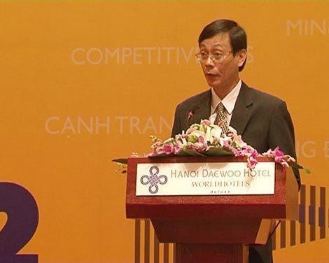 Ông Nguyễn Đức Thanh, Chủ tịch UBND tỉnh Ninh Thuận tại lễ Công bố xếp hạng cạnh tranh hôm qua.