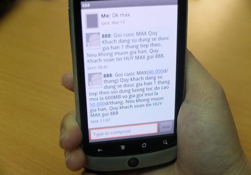 Thuê bao Vinaphone nhận được tin nhắn tăng cước Internet 3G không giới hạn từ 1/4/2013. Ảnh: Thanh Lan