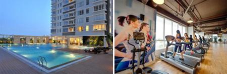Hồ bơi trên tầng 4 giữa tháp V5 và V6; phòng Gym hiện đại.