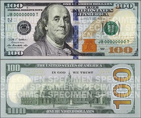 Thiết kế mới của tờ 100 USD. Ảnh: CNN