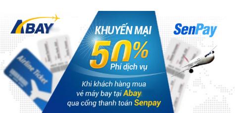 Giảm 50% phí dịch vụ khi khách hàng thanh toán tiền vé máy bay qua SenPay.