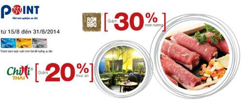 Viet Capital Bank ưu đãi 30% tại RơmBBQ và Chilli Thái