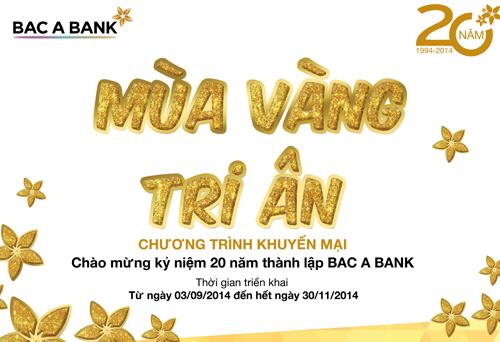 Ngân hàng Bắc Á khuyến mại nhân kỷ niệm 20 năm thành lập.
