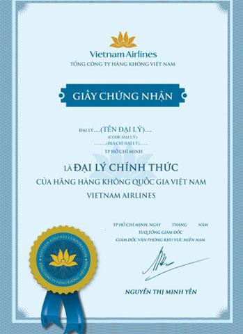 Bảng hiệu đại lý chính thức của Vietnam Airlines: có logo Vietnam Airlines và màu xanh đặc trưng được chuẩn hóa theo mẫu và được treo tại các đại lý chính thức của Vietnam Airlines.