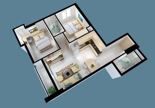 Mẫu thiết kế căn hộ 65m2 theo công nghệ mới không xuất hiện cột
