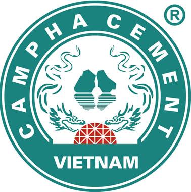 Logo xi măng Cẩm Phả thay đổi màu sắc xanh ngọc.