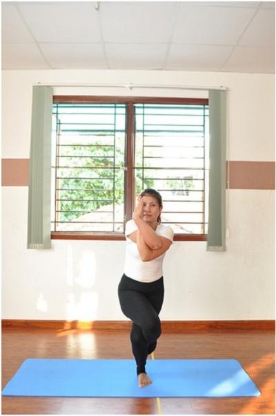Chị Nhung đã làm huấn luyện viên Yoga được 1 năm.