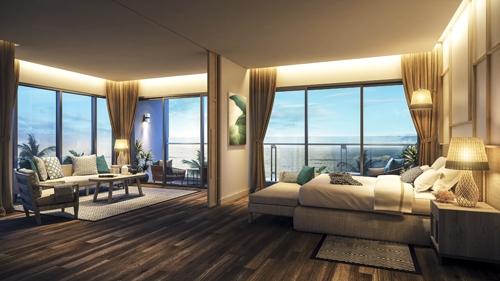 Tại bất kỳ căn hộ nghỉ dưỡng nào chủ sở hữu cũng có tầm nhìn ra biển với 4 hướng từ phòng ngủ, phòng khách và phòng bếp.