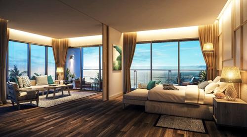 Thiết kế độc đáo của căn hộ nghỉ dưỡng mặt tiền biển nối liền không gian giữa phòng khách và phòng ngủ vừa mang đến không gian mở, vừa đảm bảo sự riêng tư khi yên giấc cho gia chủ.