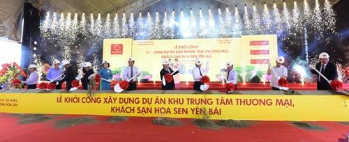 Nghi thức xúc cát khởi công xây dựng dự án Khu Trung tâm thương mại, Khách sạn Hoa Sen Yên Bái