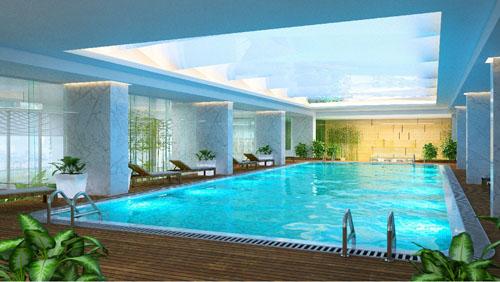 khu bể bơi 4 mùa với hệ thống lọc nước của hãng Necon Pháp không sử dụng Clo