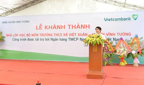TS Nghiêm Xuân Thành  Chủ tịch HĐQT Vietcombank phát biểu tại lễ khánh thành