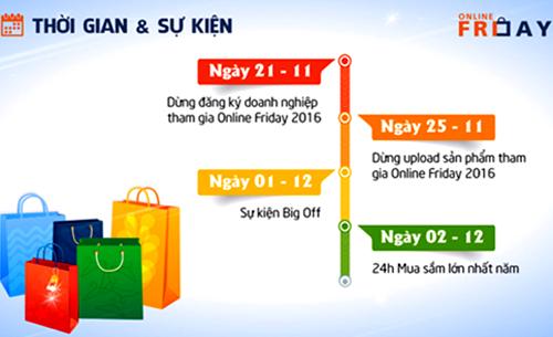 Thời gian tổ chức sự kiện Online Friday 2016.