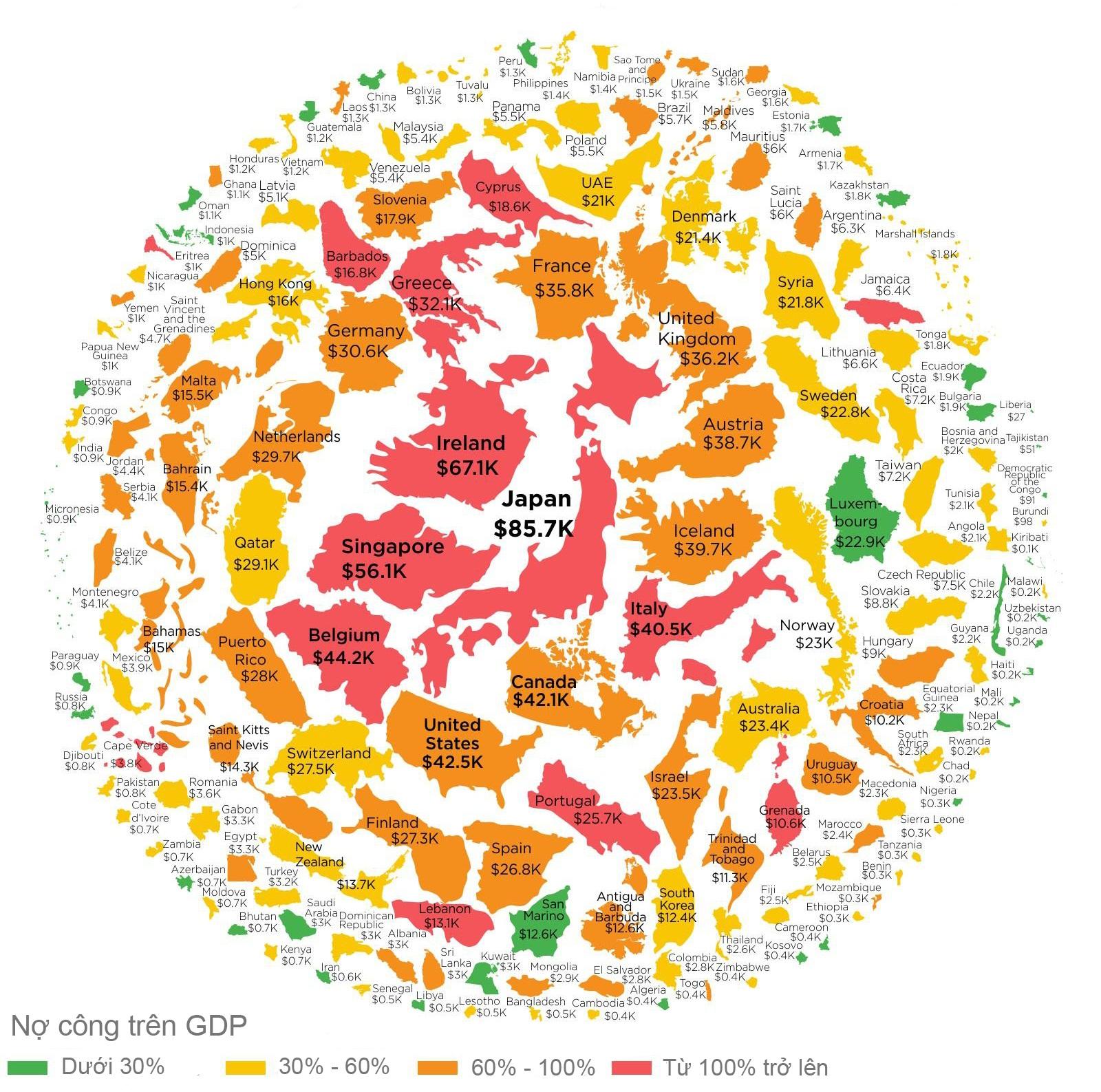 Bản đồ nợ công các nước trên thế giới