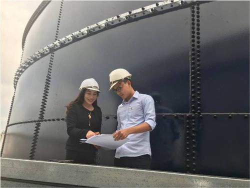 Bà Mai Thanh cùng các kỹ sư tại dự án cấp nước sạch nông thôn