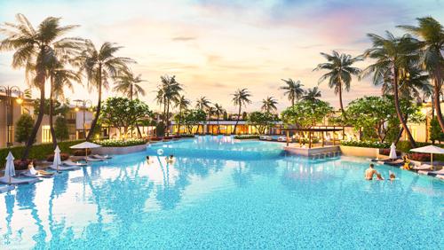Phối cảnh hồ bơi trung tâm dự án Cam Ranh Mystery Villa
