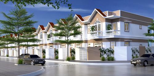 Phối cảnh nhà phố 2 tầng Gia Viên được chủ đầu tư Phú Gia Thịnh thi công.