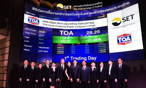 Sau IPO, giá trị vốn hóa của Sơn TOA trăm triệu USD