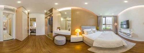 Phòng ngủ thiết kế tối ưu nhằm đón tối đa ánh sáng tự nhiên.