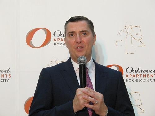 Ông Paul Stocker, Phó Tổng giám đốc Oakwood Asia Pacific tại sự kiện khai trương Oakwood Apartments TP HCM. Ảnh: Y Vân