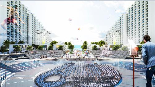 Quảng trường trung tâm The Arena  nơi sẽ tổ chức các lễ hội thu hút cộng đồng quanh năm
