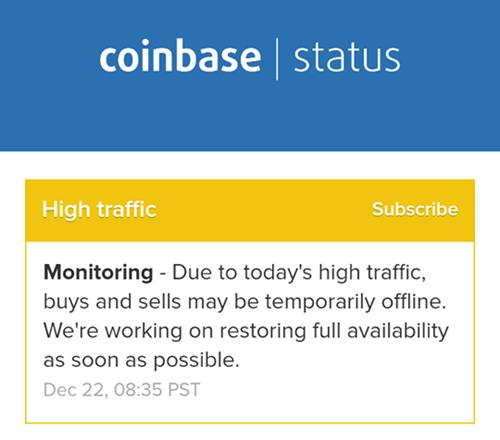 Thông báo sự cố trên Coinbase tối qua.