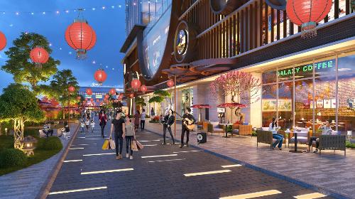 Khu phố đèn lồngtượng trưng cho hành hỏa - một góc tiện ích mang phong cách Nhật Bản tại Hinode City.