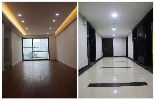 Bên trong căn hộ đã hoàn thiện. Hành lang tại các tầng đã được vệ sinh sạch sẽ.