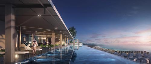 Các tiện ích đẳng cấp 6 sao tại dự án còn bao gồm bể bơi trung tâm tràn bờ nối liền với beach club tạo không gian nghỉ dưỡng thoải mái cho khách hàng hòa mình trong làn nước tươi mát. Phòng tập gym cao cấp với tầm nhìn hướng biển rộng mở trên tầng cao, chương trình luyện tập, dịch vụ spa từ thương hiệu hàng đầu Bali, Indonesia góp phần mang đến nhiều trải nghiệm cho khách hàng.
