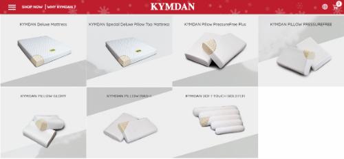 Website kymdan.us bán nệm và gối cao su thiên nhiên của Kymdan tại Mỹ ra mắt ngày 1/12.