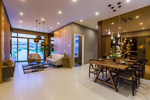 Căn hộ thiết kế hiện đại, chú trọng tối ưu công năng sử dụng. Các mặt thoáng được tận dụng tối đa nhằm lấy ánh sáng tự nhiên và tạo sự đối lưu không khí.