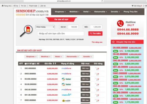 Trang chủ của simsodep.com.vn có giao diện dễ dùng, giúp người dùng nhanh chóng tìm kiếm sim ưng ý theo các từ khóa giá tiền, mạng di động, sim 10 hay 11 số&