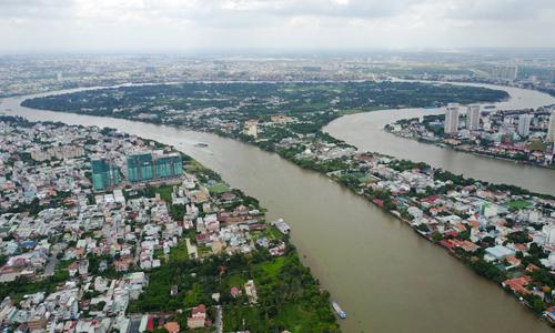 Hình ảnh Sông Sài Gòn nhìn từ trên cao. Ảnh: Quỳnh Trần