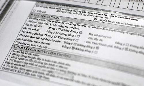 Các lựa chọn mức độ ẩn danh dành cho khách hàng trúng độc đắc của Vietlott. Ảnh:N.M